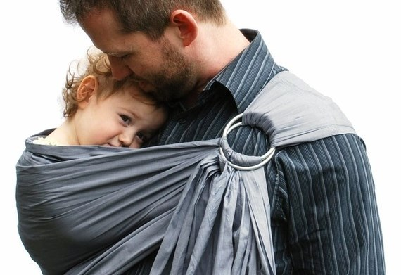 father and baby in ring sling