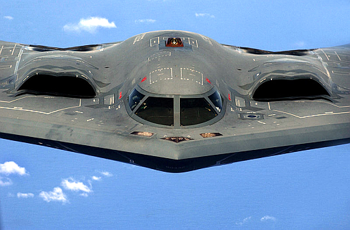"A U.S. Air Force B-2 Spirit ""Stealth"" bomber, 393rd Expeditionary Bomb Squadron, 509th Bomb Wing, Whiteman Air Force Base, Mo."