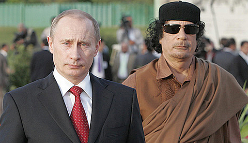 Two dictators, one Libyan and one Russian, walk together
