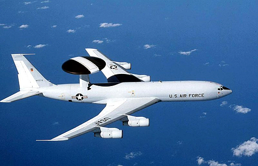 Boeing E-3 Sentry is an American military airborne warning and control system (AWACS) aircraft based on the Boeing 707 that provides all-weather surveillance, command, control and communications.