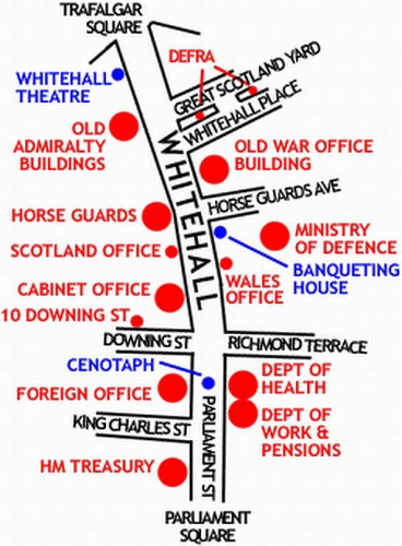 Sketch map of Whitehall, London, showing the position of the major UK Government buildings there