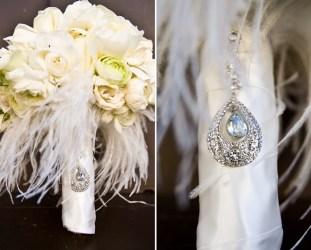 Fjær bryllupsdekorasjon brudebukett