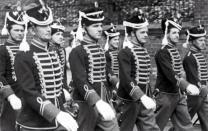 """1951 """"Schill'sche Offiziere"""": Karl Gawrich, Hans Rheinländer, Lothar Schlagheck, Alex Schlömer, Josef Welters, Willi Nix, Paul Huppertz, Viktor Wilms (v.l.)"""