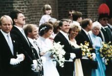 1987 König Josef Bertrams mit Ministerpaaren Herbert Laumen und Wilfried Hutmacher. Links Herbert Fervers und Heinz Nießen
