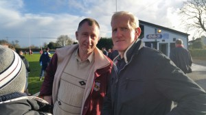 John O Connell left and Ger Foster who were part of a large travelling Bruff support on Saturday