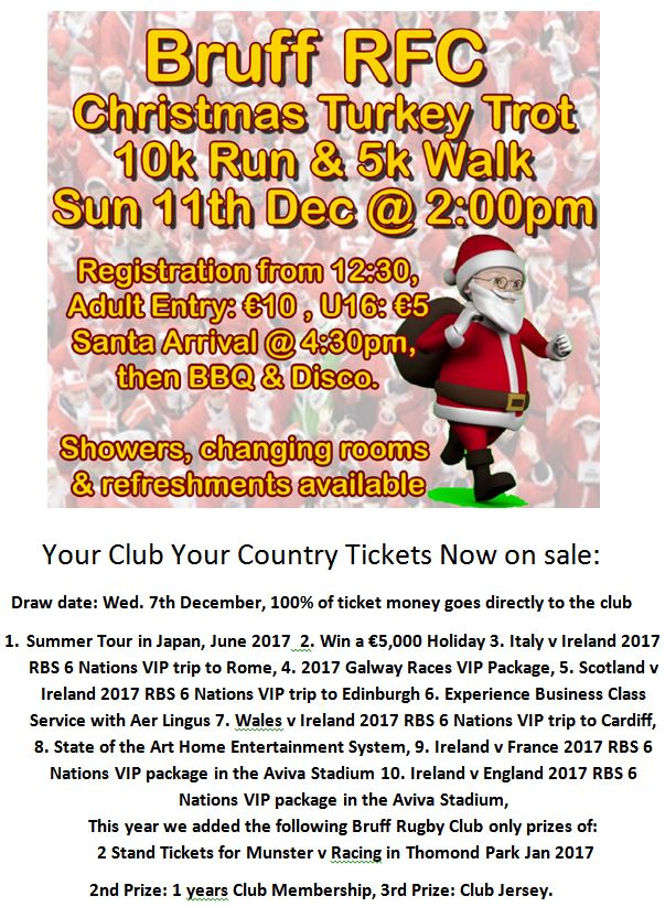 Turkey Trot &  Your Club your Country Draw