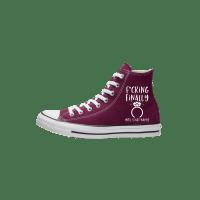 Trouw Converse High Top Bordeaux bruidssneakers