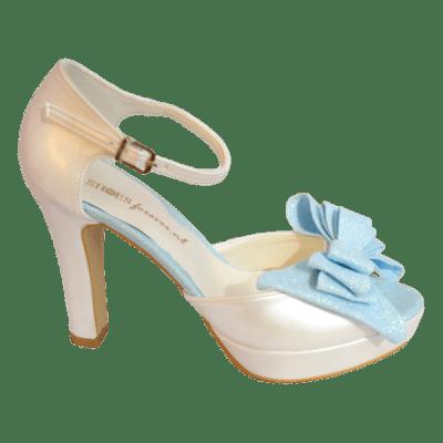 Pastelia Glitter Bruidspump blauw