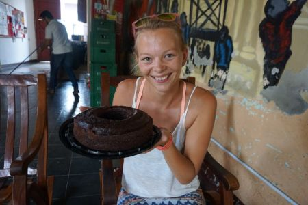 Birthday Girl with Chocolate cake!