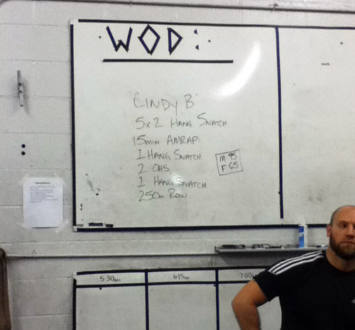 The WOD board shows Thursday's workout