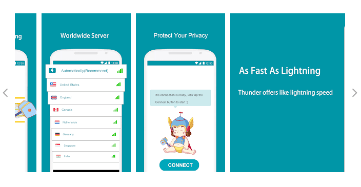 Best free VPN app for Android device Thunder VPN