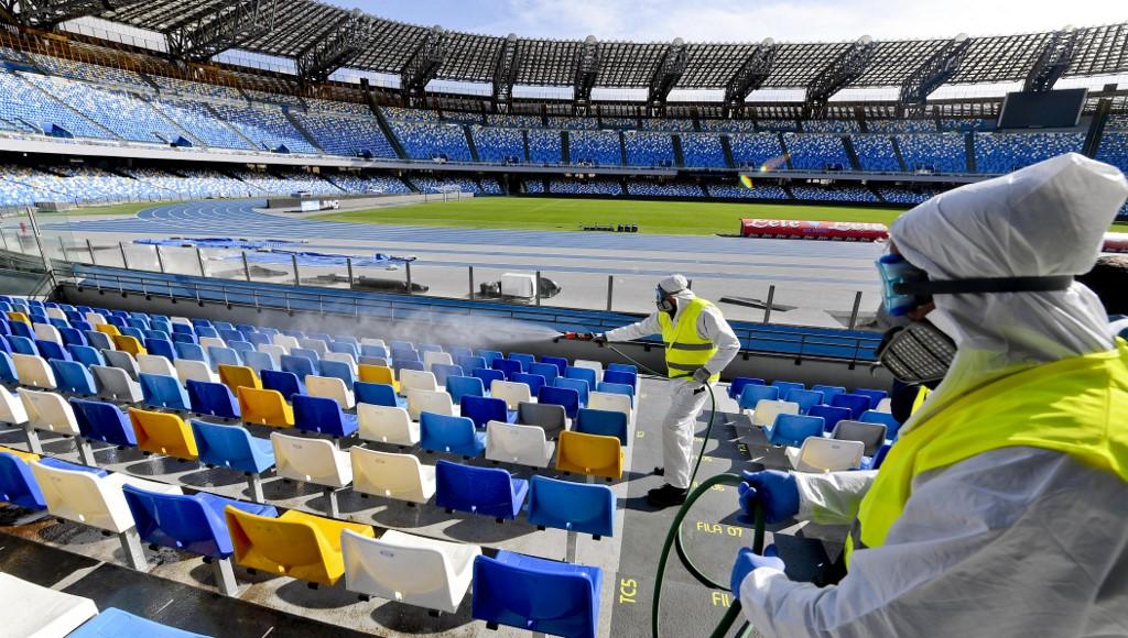 Constant disinfection of football stadium