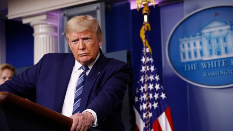 President Donald Trump speaks during a coronavirus task force briefing at the White House, Sunday, April 5, 2020, in Washington. (AP Photo/Patrick Semansky)