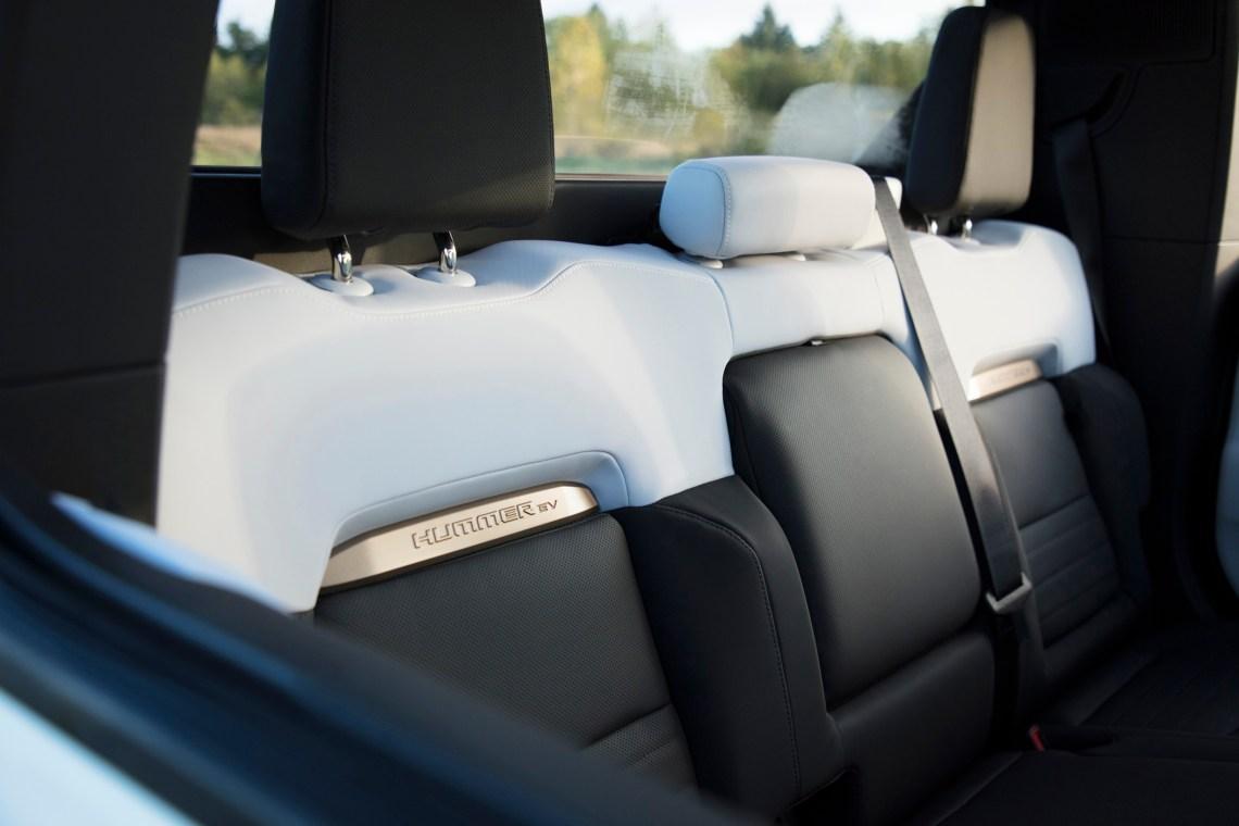 The GMC Hummer EV 2022 rear seat