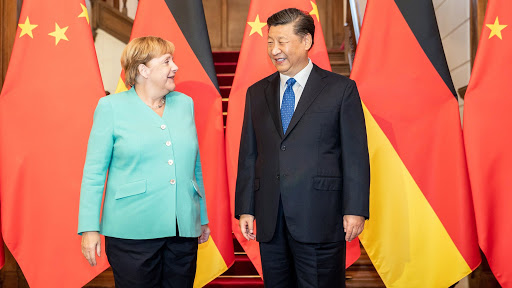 Mandatory Credit: Photo by Michael Kappeler/POOL/EPA-EFE/Shutterstock (10402786e) German Chancellor Angela Merkel (L) stands with Chinese President Xi Jinping during a meeting at Xi's guesthouse in Beijing, China, 06 September 2019. Angela Merkel is on a visit to China from 06 to 07 September 2019. Merkel visits China, Beijing - 06 Sep 2019