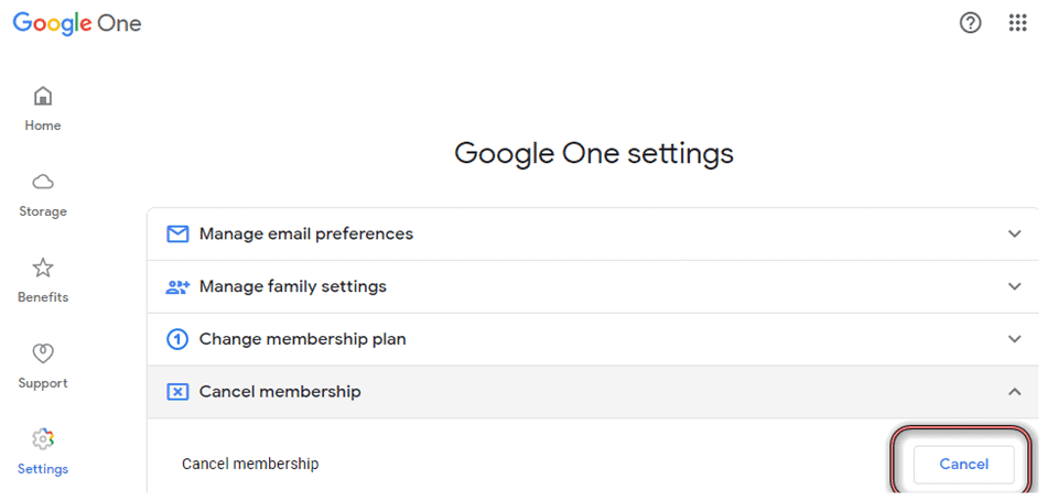 Cancel Google One subscription