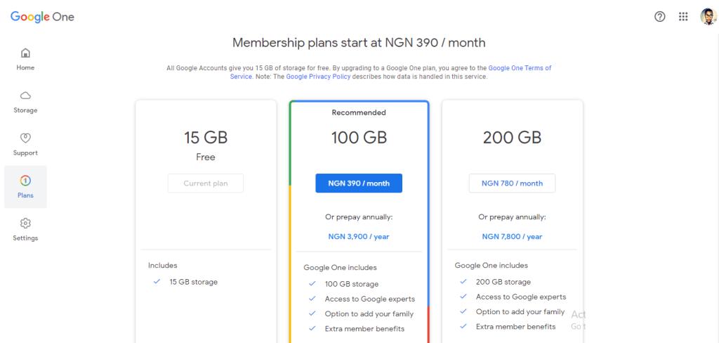 Google One subscription plan