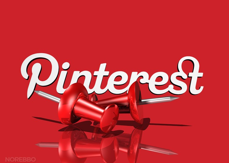 3d illustration of two large red push pins lying in front of the scripted Pinterest logo