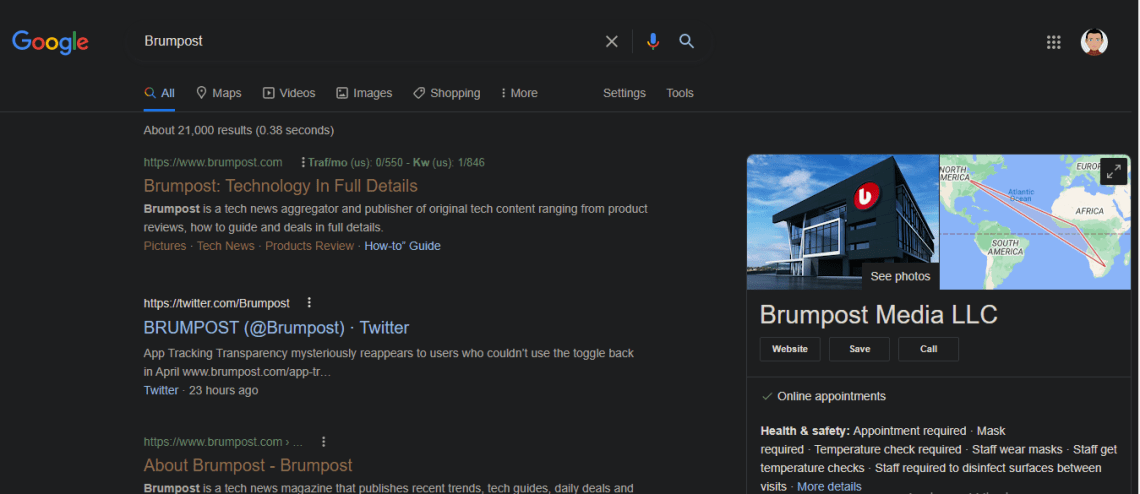 Turn on Dark mode in Google