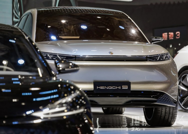 China Evergrande New Energy Vehicle Group Ltd.'s Hengchi 9 electric vehicle at the Auto Shanghai 2021 show in Shanghai, China, on Monday, April 2021. Evergrande NEVis a stock-market darling, with its shares rallying more than 1,000% over the past 12 months, giving it a market value greater than Ford Motor Co. andGeneral Motors Co. Photographer: Qilai Shen/Bloomberg