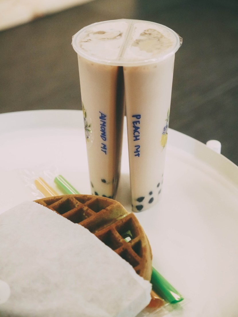 bubble tea and pandan waffle from tea zone and fruit bar - april in review | brunch at audrey's
