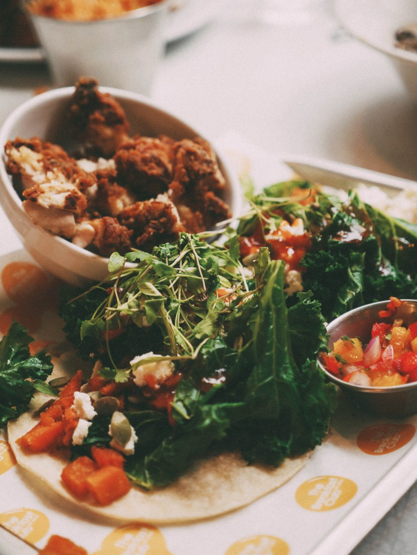 kale, sweet potato, feta tacos - the breakfast club | brunch at audrey's