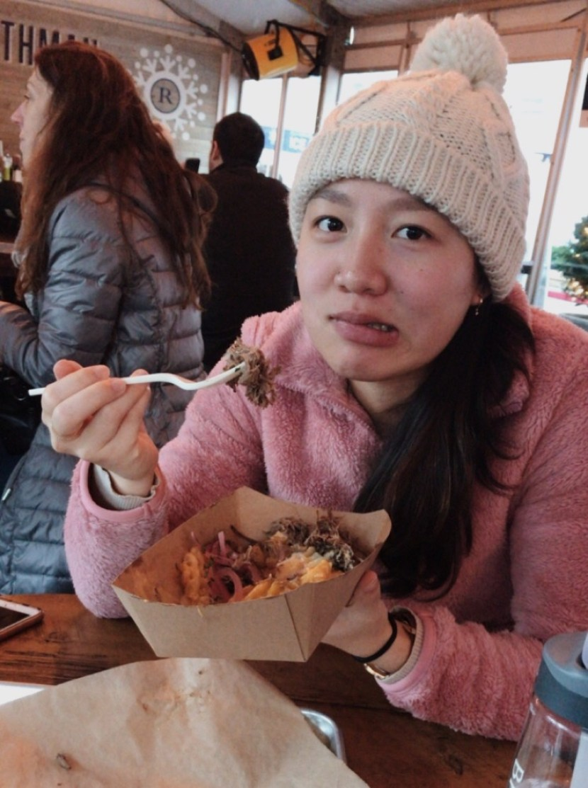 me eating fries, rothman cabin - december lately | brunch at audrey's