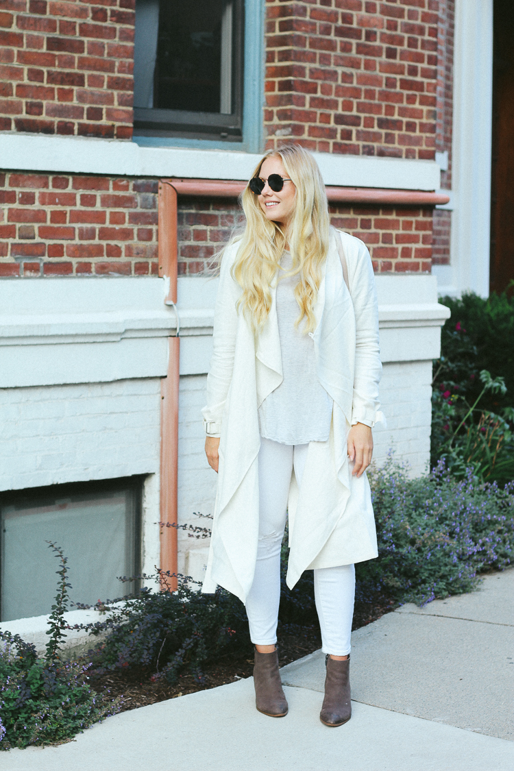 why you should wear white after labor day, white outfits, fall outfits, fall style, white after labor day, trench coat, white trench,