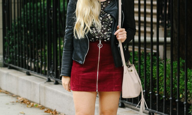 fall style- faux leather skirt and booties for fall