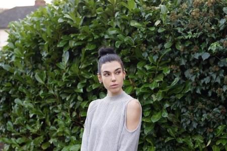 Denim skirt and cold-shoulder jumper