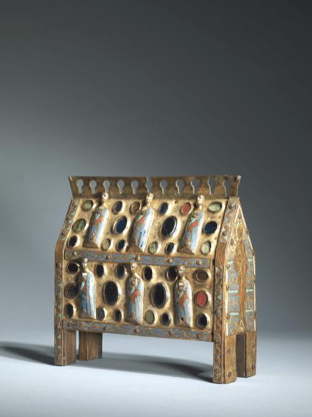 An appliquéd enamel chasse | France, Limoges | c. 1220| ; champlevé enamelled and gilt copper, set with cabochons, on an oak core