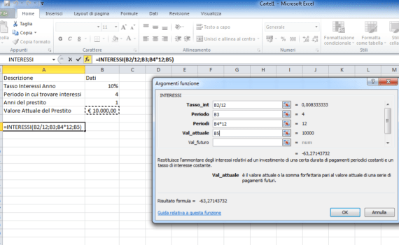 Funzione Interessi di Excel
