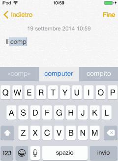 iOS 8 Tastiera predittiva