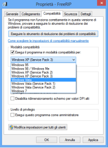 modalità compatibilità windows 8