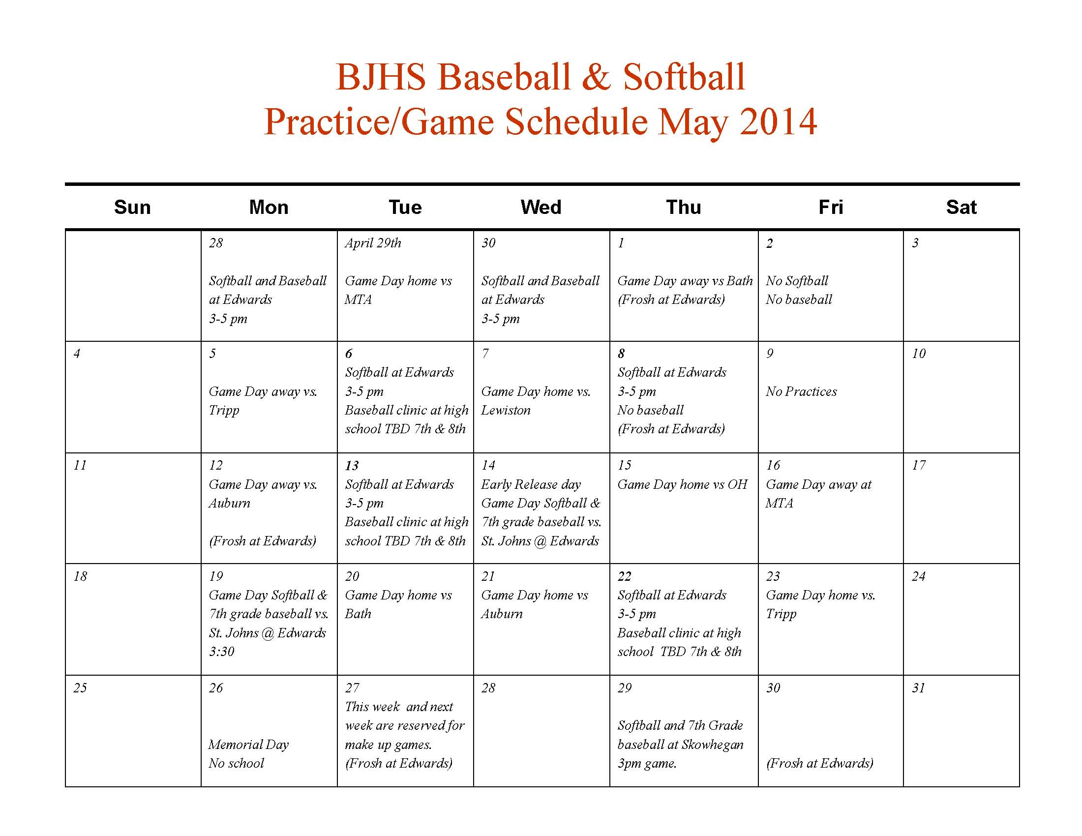 Spring Baseball And Softball Schedule