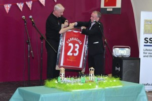 Keith presented the Glasgow branch with a signed football shirt from former Liverpool and England footballer Jamie Carragher, Bootle Brunswick Boys Club's most famous alumni.