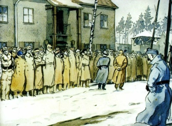 Painting by Gordon Horner showing roll call at the POW camp where Brunswick Youth and Community Centre was founded.