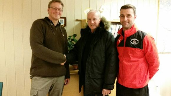 Brunswick Youth and Community Centre Manager Keith Lloyd with Jamie Carragher Sports & Learning Academy Director James Olsen meeting with the Mayor of Vinje, Norway Mr Jon Rikard.