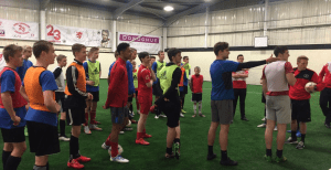 Jamie Carragher Sports and Learning Academy coach a Norwegian group.