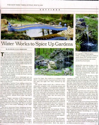 Water Works to Spice up Gardens - NY Times 2004