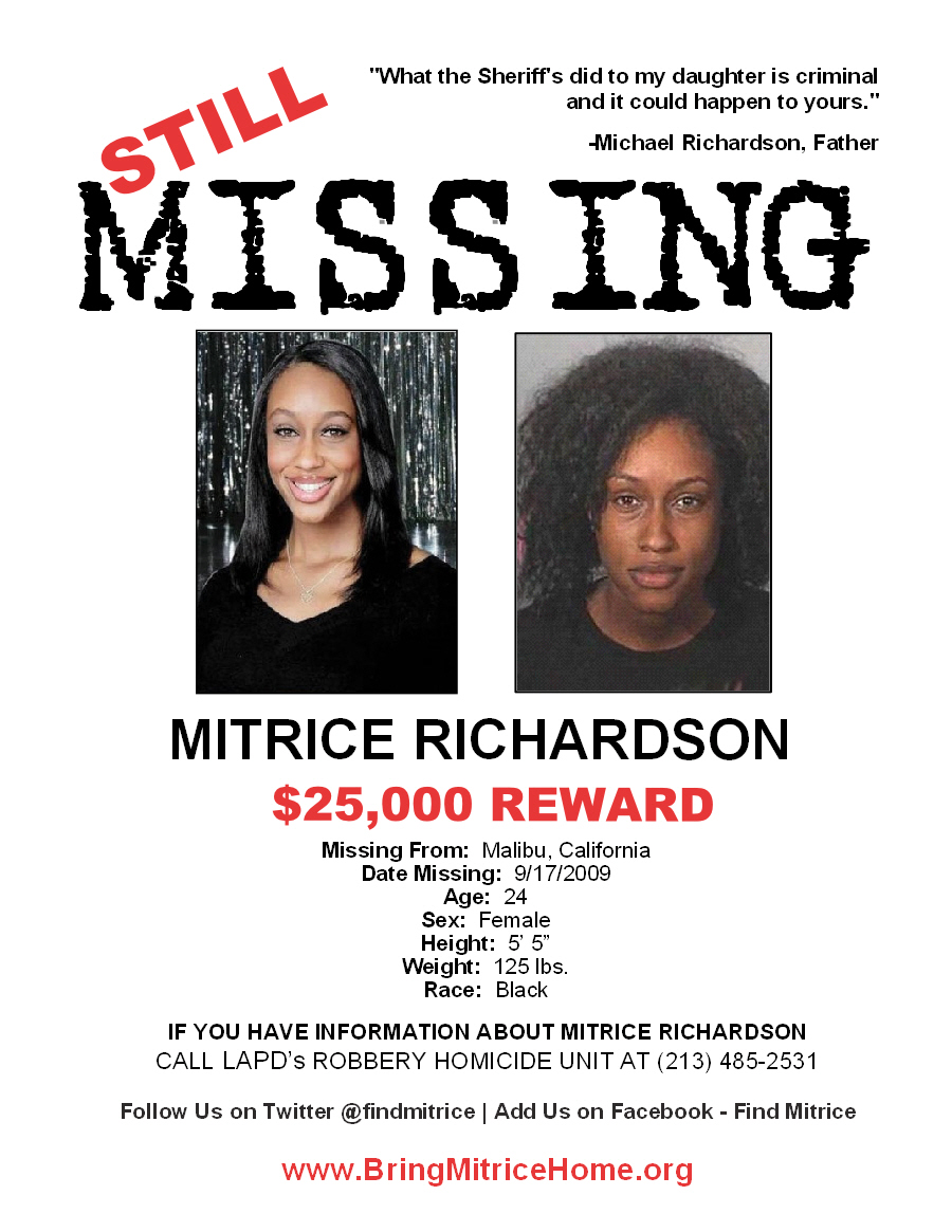 Missing Mitrice Poster Distributed By Her Family And Loved Ones...