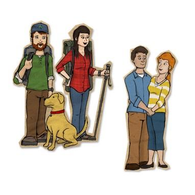 Spot illustrations for a tourism website
