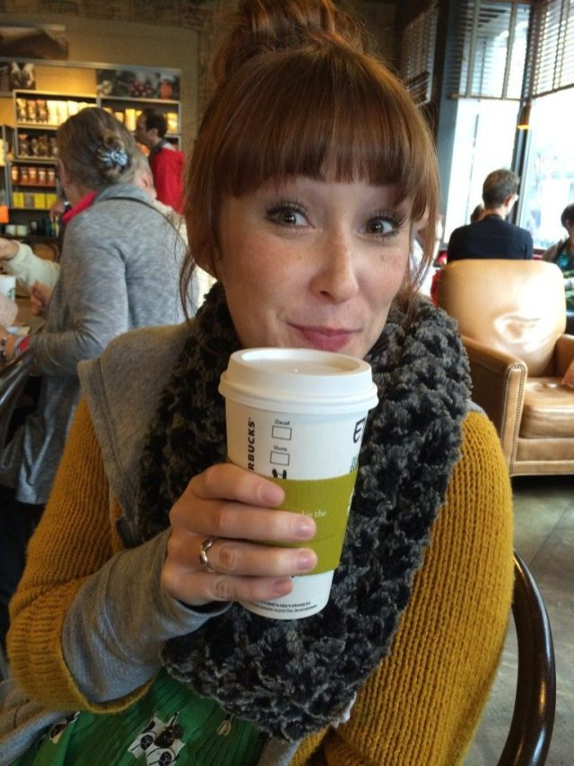 Beth drinking her coffee