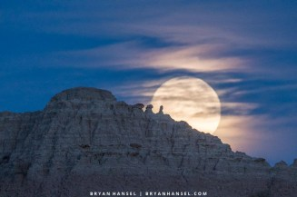 full moon in the badlands