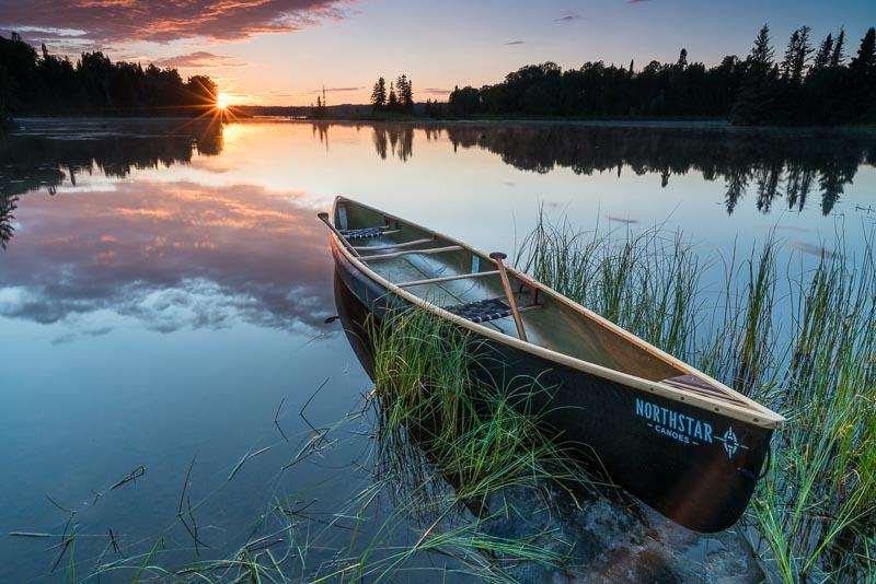 Northstar Polaris canoe at sunset on Devil Track