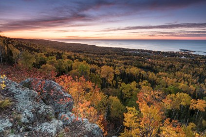 fall color over lake superior