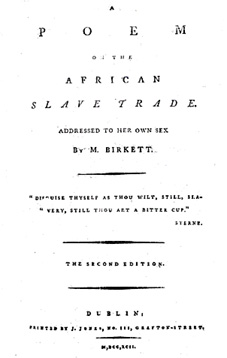 Mary Birkett Card (1774-1817). No likeness survives. This is the title page of the second edition of her Poem on the African Slave Trade