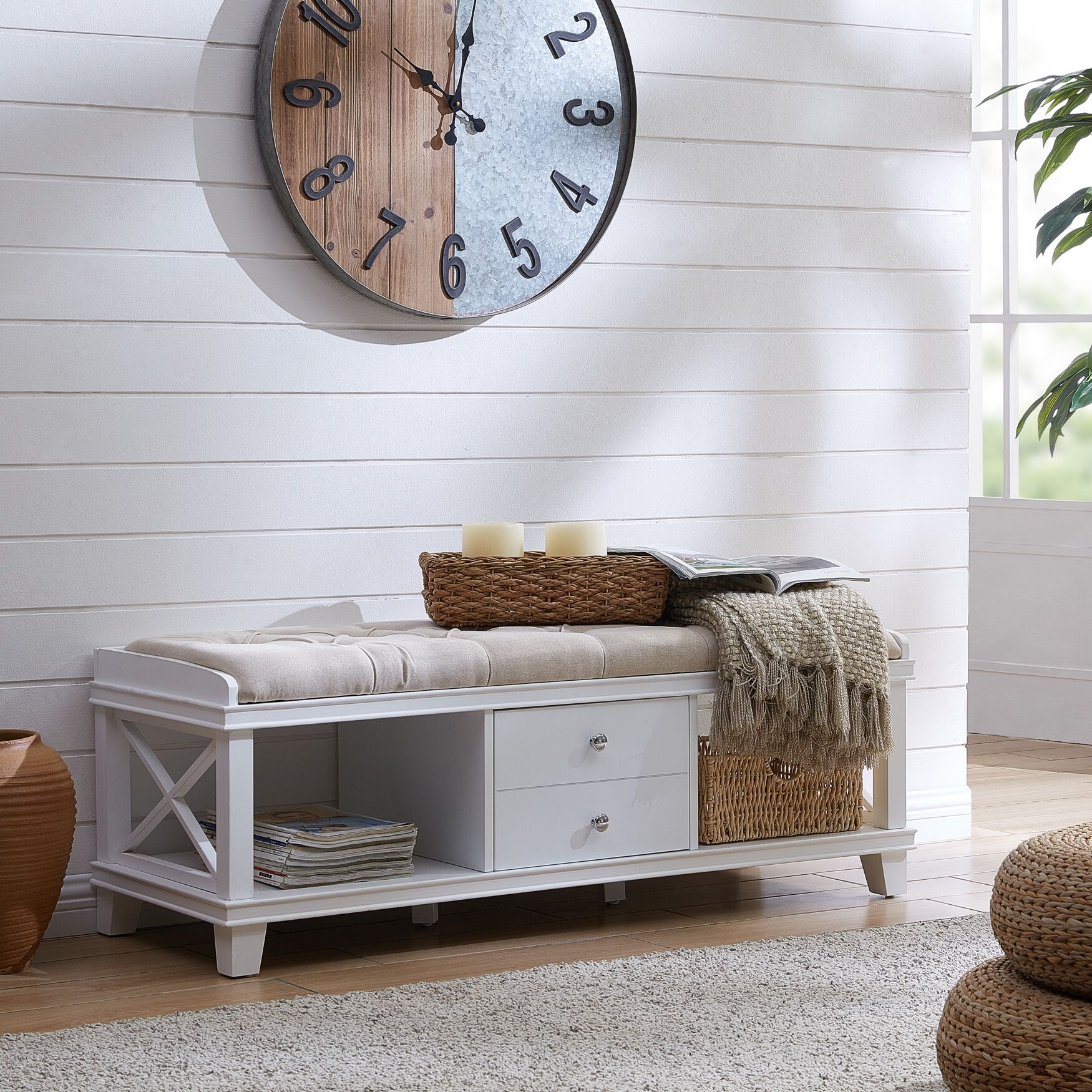 Wyndcliff White Upholstered Storage Bench Brylane Home
