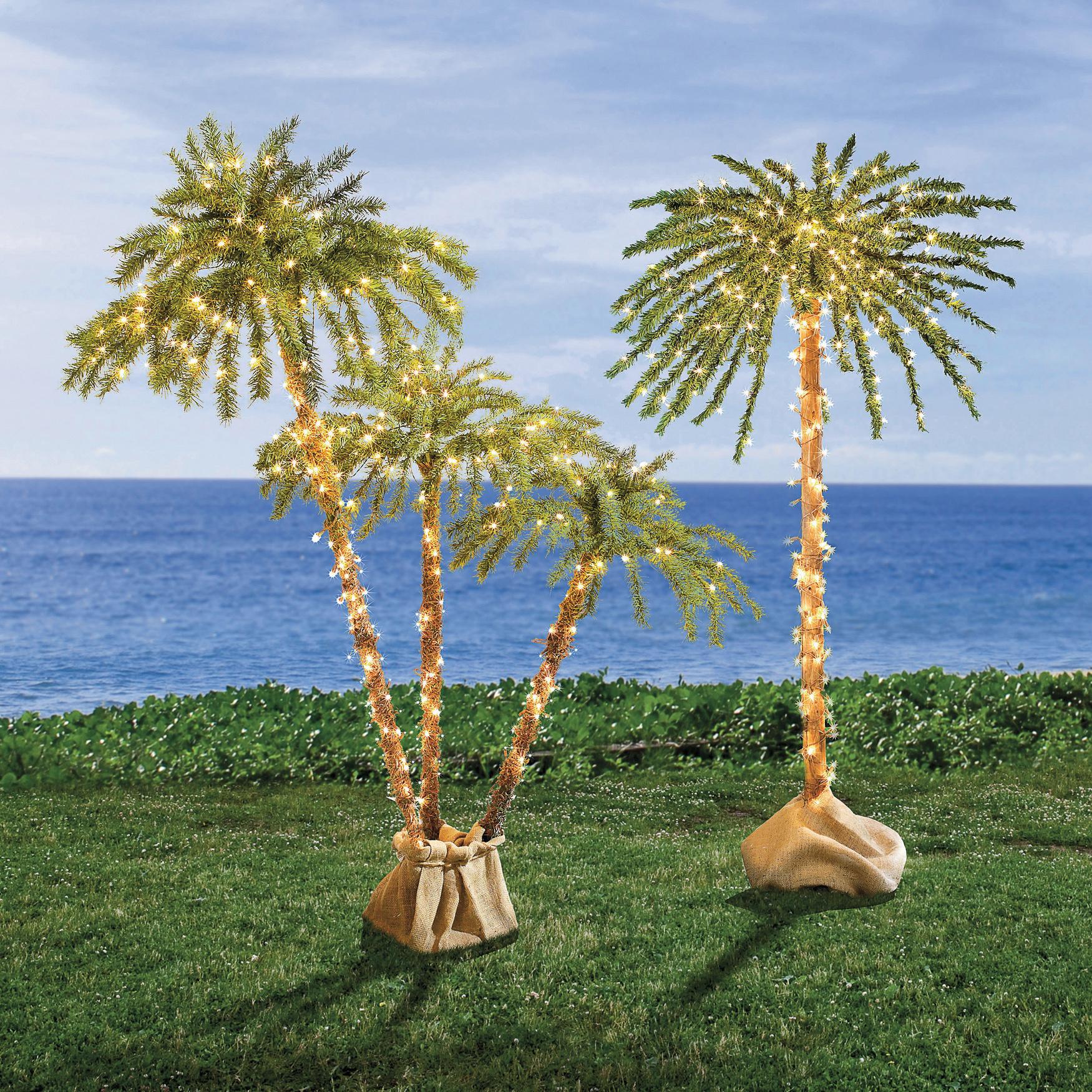 Pre Lit 3 Branch Palm Tree Garden Amp Planters
