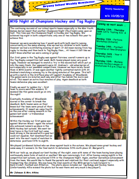 Weekly Newsletter w/e 10th May 2019